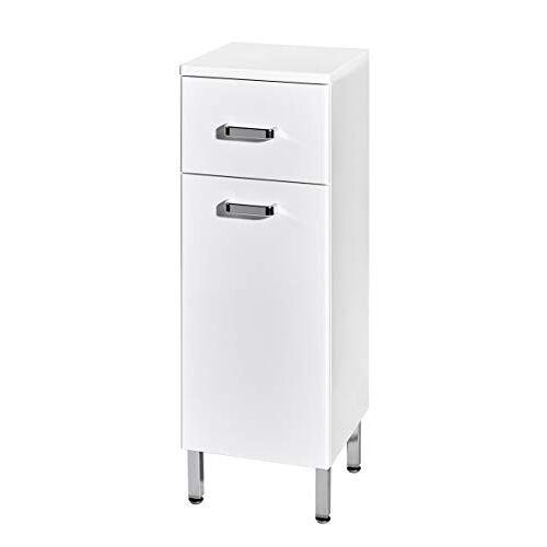 Schildmeyer Alexa zijkast, houtdecor, MDF, glanzend wit, 30,4 x 31,9 x 87,5 cm