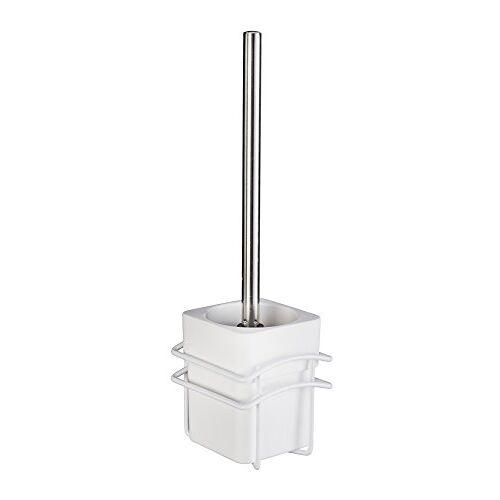 WENKO DIE BESSERE IDEE Wenko Classic Plus 22824100 toiletborstelhouder met hoogwaardige roestbescherming, staal, 10,5 x 37,5 x 13 cm, wit