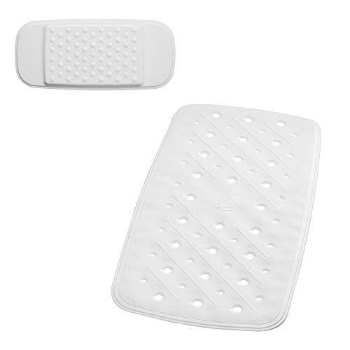 RIDDER Promo Set: badmat hoofdkussen, 100% synthetisch rubber (TPE = thermoplastisch elastomeer), wit, ca. 36 x 71 cm.