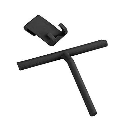 Wenko Badkamerwisser silicone Mola zwart douchewisser, siliconen, 21 x 24,5 x 4 cm, zwart