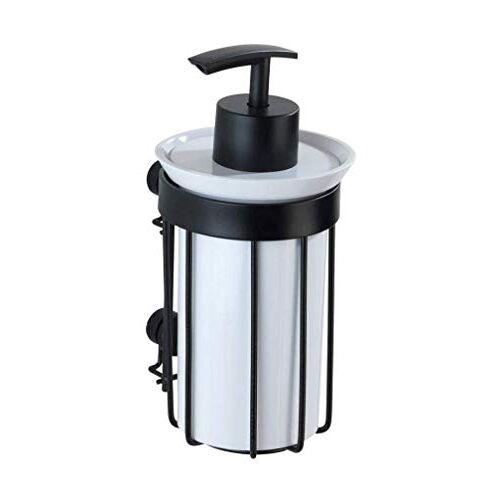 Wenko Zeepdispenser Classic Plus Black vloeibare zeepdispenser met hoogwaardige roestbescherming Inhoud: 0,185 l, staal, 8 x 16,5 x 9 cm, zwart