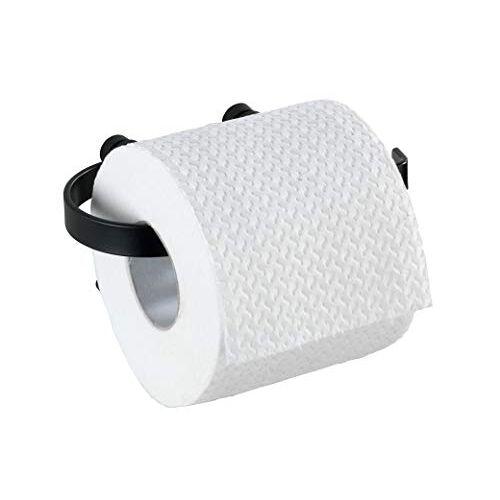Wenko Toiletpapierhouder Classic Plus Black rolhouder met hoogwaardige roestbescherming, staal, 15 x 7,5 x 10 cm, zwart