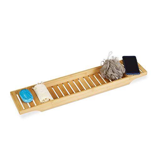 Relaxdays Badkuiprek bamboe, rooster h x b x d: 4,5 x 68,5 x 14,5 cm badkuipbrug, plank, hout, badkuiptablet, naturel