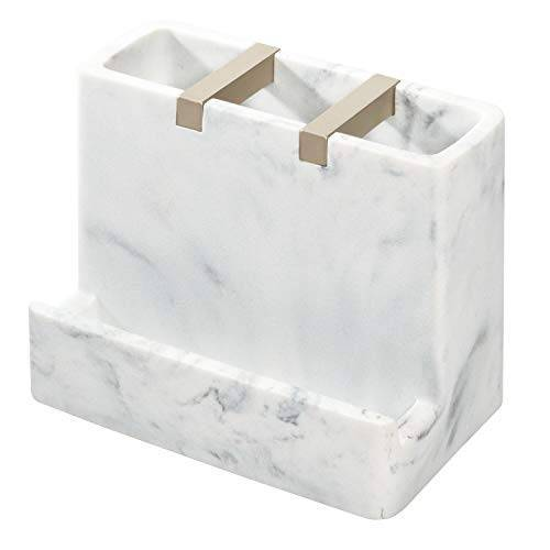 iDesign Badkamerplank, tandenborstelhouder met 3 vakken en plank van kunsthars en metaal, elegante smartphone-standaard voor de wastafel, wit en zilverkleurig