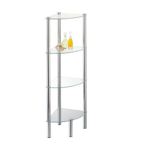 axentia Hoekplank Solanio met vier planken, glazen plank voor badkameraccessoires, badkamermeubel voor de hoeken, staande kast met wandbevestiging, ca. 30 x 108 x 30 cm