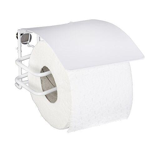 Wenko Toiletpapierhouder met deksel Classic Plus rolhouder met hoogwaardige roestbescherming, staal, 12,5 x 9 x 14 cm, wit