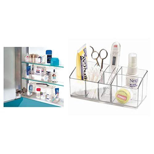 iDesign Medicijnbox voor badkamer en medicijnkast, kleine medicijnbox van kunststof, overzichtelijke opslag van medicijnen met 7 vakken, doorzichtig