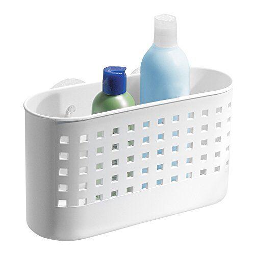 iDesign Doucheplank met zuignap, grote douchemand zonder boren van kunststof, zeepbakje met afvoeropeningen voor de douche, wit