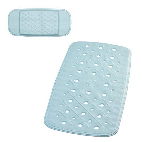 RIDDER Promo Set: badmat hoofdkussen, 100% synthetisch rubber (TPE = thermoplastisch elastomeer), blauw, ca. 36 x 71 cm.