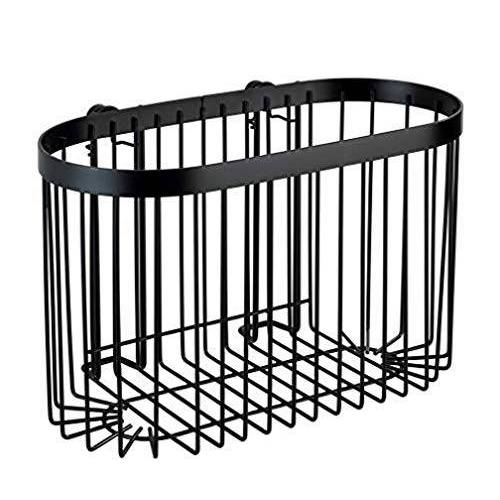 Wenko Wandplank groot Classic Plus Black wandrek, badkamerplank met hoogwaardige roestbescherming, staal, 26,5 x 16,5 x 14,5 cm, zwart