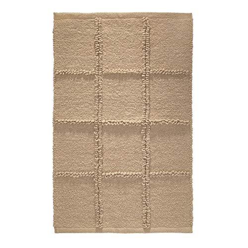 """iDesign Grid Badkamermat, rechthoekvormig Klein tapijt gemaakt van katoen, beige, 21 """"x 34"""