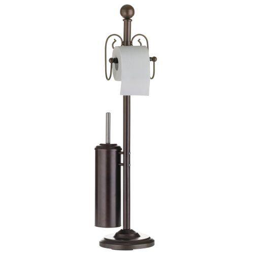 axentia Toiletgarnituur nostalgie, metaal gepoedercoat, roestkleurig, wc-papierrolhouder, wc-borstelhouder en wc-borstel, afmetingen: ca. 19 x 19 x 82 cm