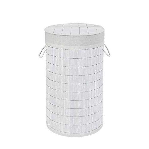 Wenko Wasmand Bamboo wit wasmand, met waszak, bamboe, 35 x 60 x 35 cm, wit