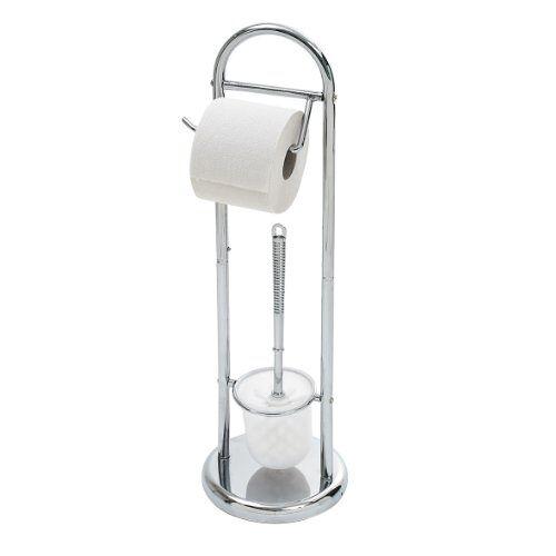 axentia WC-garnituur Emil in zilver, WVborstelhouder met wc-papierrolhouder van ijzer, roestvrij wc-accessoire verchroomd