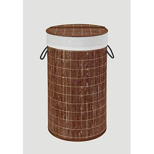 Wenko Wasmand Bamboo donkerbruin wasmand, met waszak inhoud: 55 l, bamboe, 35 x 60 x 35 cm, donkerbruin