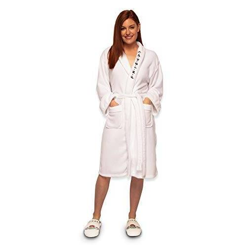 FRIENDS Central Perk dames badjas fleece badjas, wit, één maat