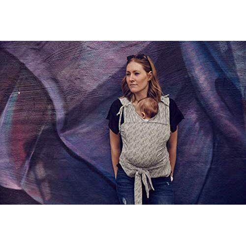Najell WRAP, babydraagdoek, geen strikken nodig, snel, comfortabel en elastisch, voor pasgeborenen en baby's, grijs patroon