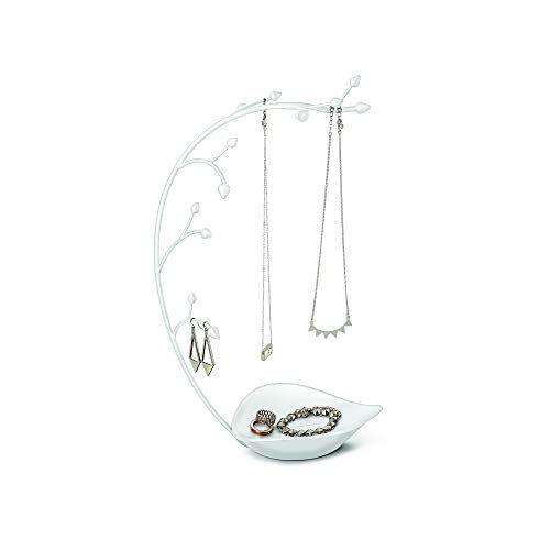 Umbra Orchid sieradenstandaard en sieradenboom voor kettingen met geïntegreerde sieradenplank, wit,