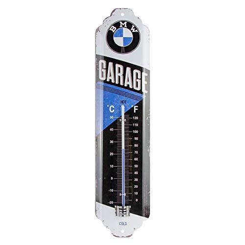ART 80312 Analoge retro thermometer BMW – garage – cadeau-idee voor autoaccessoires fans, van metaal, vintage design ter decoratie, 6,5 x 28 cm