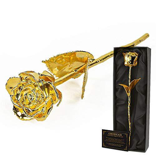 mikamax Gouden Rose 24 karaat echtheidscertificaat Luxe box Gedoopt in Goud 30 cm