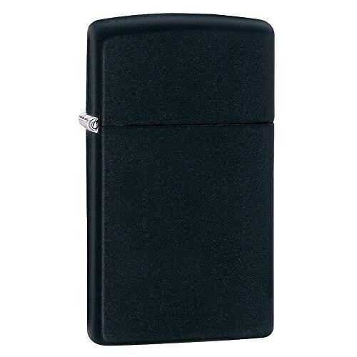 Zippo Aansteker PL 1618 Slim Black Matte benzine-aansteker, messing