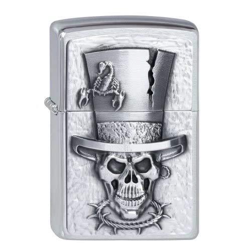 Zippo Aansteker 2001666 Skull Top Hat embleem benzine-aansteker, messing