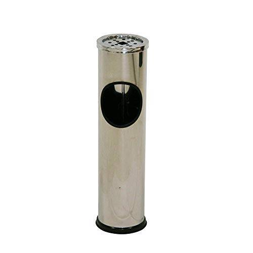 axentia Vuilnisemmer met opgezette asbak, staande asbak met geïntegreerde papiermand, vuilnisbak incl. asbak, roestvrij staal