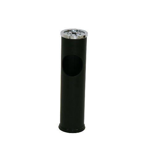 axentia Vuilnisemmer met opgezette asbak, staande asbak met geïntegreerde papiermand, vuilnisbak incl. asbak, metaal