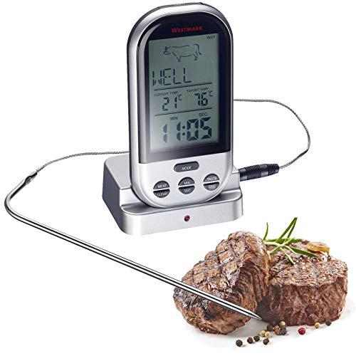 Westmark Digitale braadthermometer, draadloos, met draagbare ontvanger met een bereik van 30 m, roestvrij staal/kunststof, zilver/zwart, 12922260