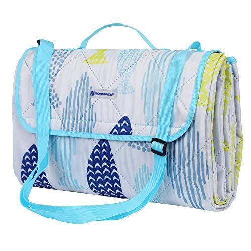 SONGMICS GCM80UW Picknickdeken voor buiten, opvouwbaar tot tas met schouderriem, licht campingdeken, ideaal voor op reis, warmte-isolerend, 195 x 150 cm