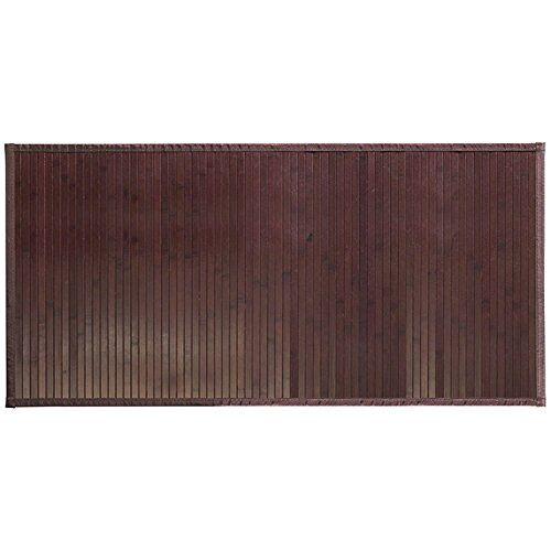 InterDesign iDesign antislip voetmat, waterafstotende bamboemat, grote loper van bamboe voor badkamer, keuken en hal, mokkabruin, 61 x 122 cm
