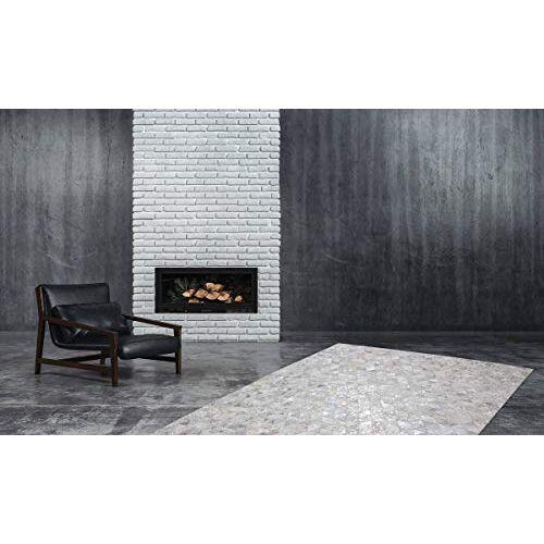 One Couture tapijten 100% leer handgemaakt patchwork design tapijt 160cm x 230cm grijs