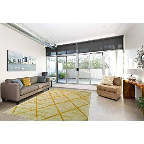 One Couture Berber tapijt 100% viscose handgeweven retro look tapijten laagpolig tapijt geel woonkamertapijt eetkamertapijt tapijtloper gang loper, maat: 160cm x 230cm