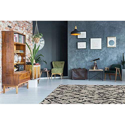 One Couture Vloerkleed, vinatege-look, berberber-look, vlakpolig, ruiten, woonkamer, tapijten, grijs