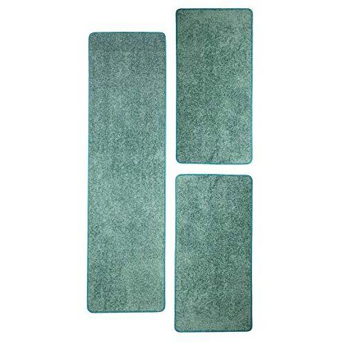 Misento Shaggy hoogpolig tapijt voor woonkamer langpolig, getest op schadelijke stoffen 100% polypropyleen, aqua bedomranding: 1x 67 x 250 cm 2x 67 x 140 cm