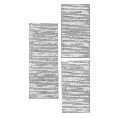 andiamo Geweven tapijt Bolonia ornament-patroon loper Set 3 teilig Strepen grijs.