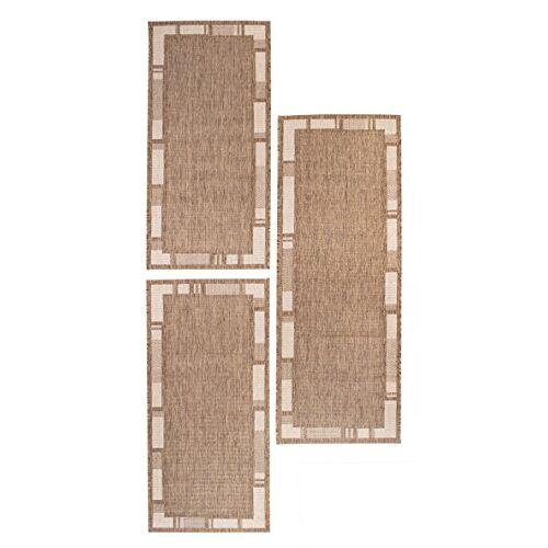 andiamo Louisville Geweven tapijt tapijt loper loper set brug 1x67x180-2x67x140 bedomranding, polypropyleen, rand bruin/beige, set van 3