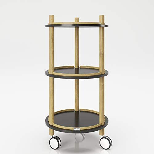 Playboy Bijzettafel op wieltjes met 3 planken, zwart/hout, serveerwagen, bloementafel, in modern design, zwart mat met frame van milieuvriendelijk bamboe, eenvoudig te verplaatsen, badkamerrek
