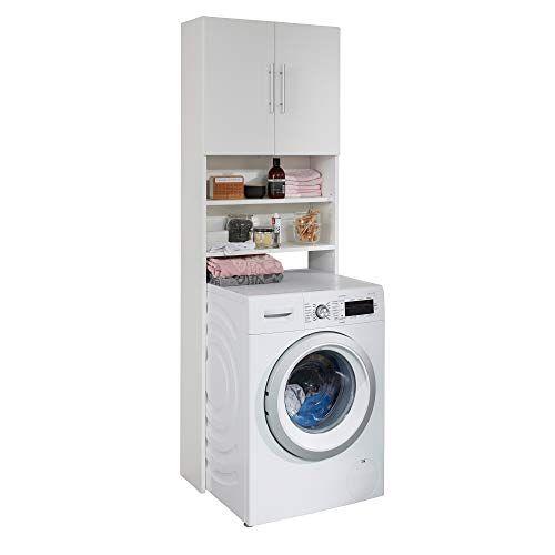 Trendteam Smart Living badkamer wasmachinekast wasmachine bovenbouw 64 x 190 x 25 cm wit