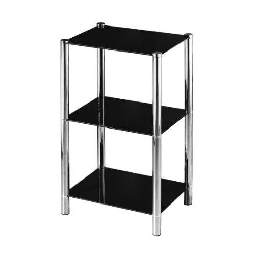 Premier Housewares 3 Tier Plank Unit Zwart Glas Planken Chrome Frame Rekken Unit Garage Unit Opslag Rekken Unit Schuur Rekken 70 x 41 x 31 cm