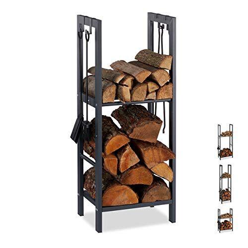 Relaxdays , antraciet brandhoutrek met 2 planken, van staal, 4 haken voor haardbestek, brandhoutrek HBT 100x40x30 cm, 100 x 40 x 30 cm
