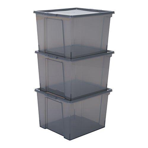 Iris , opbergdozen / kisten met deksel / stapeldozen 'Useful Storage Box', kunststof Set van 3 42 x 36 x 26,5 cm grijs
