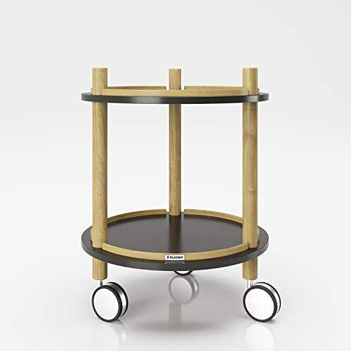 Playboy Bijzettafel op wieltjes met 2 planken, zwart/hout, serveerwagen, bloementafel, in modern design, mat zwart met frame van milieuvriendelijke bamboe, eenvoudig te verplaatsen, badkamerrek