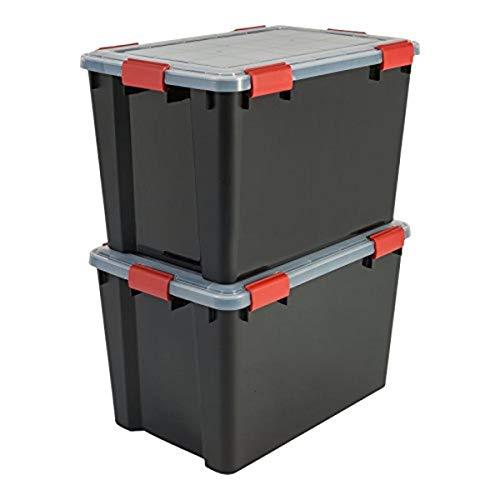 Iris AT-LD All-Weather Box Opbergdozen, Zwart, 70 L, Set van 2
