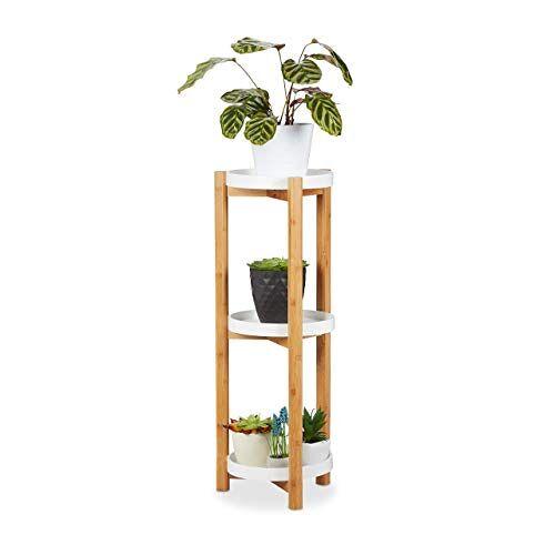 Relaxdays Bloemenrek, 3 etages, bamboe & MDF, rond, moderne plantenstandaard voor binnen, H x D: 79 x 30 cm, natuur/wit
