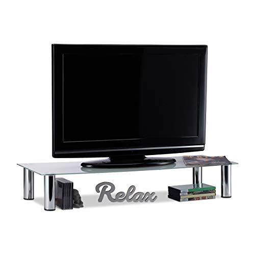Relaxdays , wit/zilver tv-tafel glas, verchroomde metalen poten, schermverhoging, rechthoekig, glazen opzetstuk, 100x35x17 cm, standaard