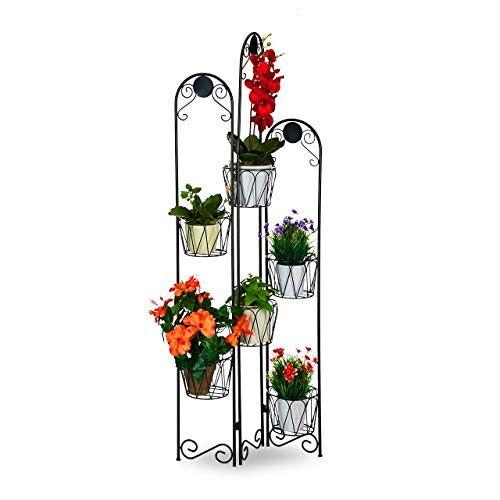 Relaxdays Bloemenstandaard van metaal, voor bloempotten, 6 planken, bloementrap voor binnen en buiten, hoogte: 140 cm, zwart