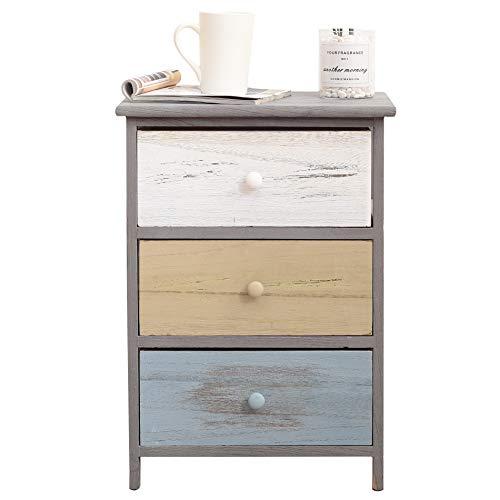 Rebecca Mobili Vintage nachtkastje, commode met 3 laden, hout, Paulownia, grijs, beige, blauw, woonkamer, afmetingen: 56 x 40 x 29 cm (HxBxD) RE4883