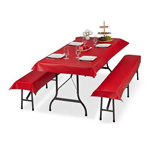 Relaxdays Biertentgarnituur set van 3, biertafel, tafelkleed 250 x 100 cm, 2 bierbankkussens 250 x 55 cm, afwasbaar, rood