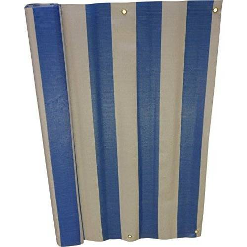 Angerer balkonbekleding, PE-weefsel, blokstrepen blauw/wit 90 cm hoch, Länge: 6 Meter blauw